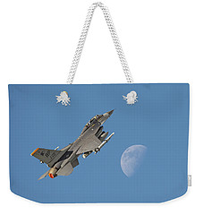 Weekender Tote Bag featuring the photograph F16 - Aiming High by Pat Speirs