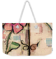 Weekender Tote Bag featuring the mixed media Fabric Fairy Door by Carrie Joy Byrnes