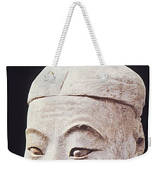 Weekender Tote Bag featuring the photograph Face Of A Terracotta Warrior by Heiko Koehrer-Wagner