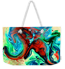 Weekender Tote Bag featuring the painting Face To Face by Joyce Dickens