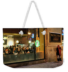 Weekender Tote Bag featuring the digital art Faces At The Coffeehouse by Chris Flees