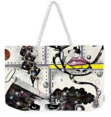 Weekender Tote Bag featuring the digital art Faces In Space by Darren Cannell