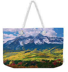 Facinating American Landscape Flowers Greens Snow Mountain Clouded Blue Sky  Weekender Tote Bag