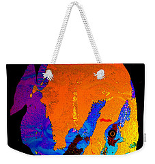 Weekender Tote Bag featuring the painting Facing The Fish by David Lee Thompson