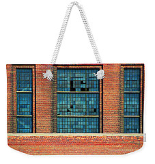 Weekender Tote Bag featuring the photograph Factory Windows by Mary Bedy