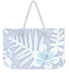Faded Denim Fern Batik Weekender Tote Bag