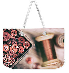 Faded Retro Styled Red Buttons And Thread Weekender Tote Bag