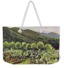 Weekender Tote Bag featuring the painting Fainting Goat Valley - Vineyards -  Jasper, Ga by Jan Dappen