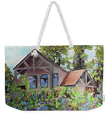 Weekender Tote Bag featuring the painting Fainting Goat Vineyard Through The Vines by Jan Dappen