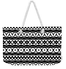 Fair Isle Black And White Weekender Tote Bag