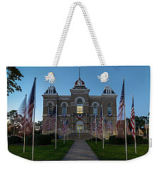 Weekender Tote Bag featuring the photograph Fairbury Nebraska Avenue Of Flags - September 11 2016 by Art Whitton
