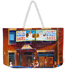 Weekender Tote Bag featuring the painting Fairmount Bagel With Blue Car  by Carole Spandau