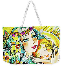 Weekender Tote Bag featuring the painting Fairy Mother And Angel Child by Eva Campbell