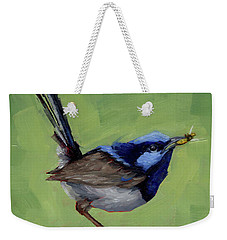 Weekender Tote Bag featuring the painting Fairy Wren With Lunch  by Margaret Stockdale