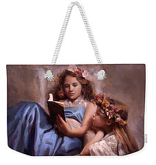 Weekender Tote Bag featuring the painting Fairytales And Lace - Portrait Of Girls Reading A Book by Karen Whitworth