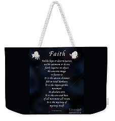 Faith Weekender Tote Bag by Felipe Adan Lerma