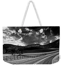 Fall Along Joe Brown Highway In Black And White Weekender Tote Bag