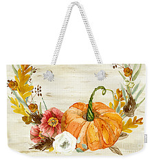 Weekender Tote Bag featuring the painting Fall Autumn Harvest Wreath On Birch Bark Watercolor by Audrey Jeanne Roberts