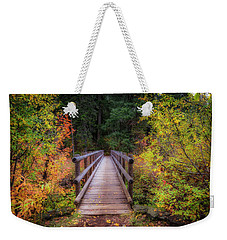 Weekender Tote Bag featuring the photograph Fall Bridge by Cat Connor