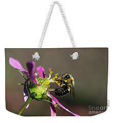 Weekender Tote Bag featuring the photograph Fall Bumblebee   by Yumi Johnson