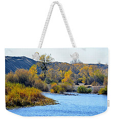 Weekender Tote Bag featuring the photograph Fall Color On The Yuba  by AJ Schibig