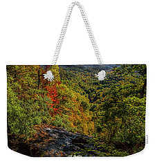 Weekender Tote Bag featuring the photograph Fall Colors From The Top Of Amicolola Falls by Barbara Bowen