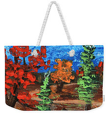 Weekender Tote Bag featuring the painting Fall Colours #1 by Anastasiya Malakhova