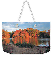 Fall Day At The Creek Weekender Tote Bag by Angela Murdocks