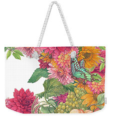 Weekender Tote Bag featuring the painting Fall Florals With Illustrated Butterfly by Judith Cheng