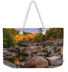 Weekender Tote Bag featuring the photograph Fall Foliage In New Hampshire Swift River by Ranjay Mitra