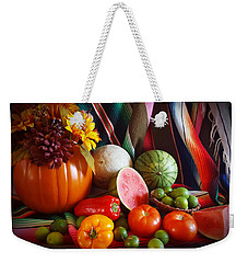 Weekender Tote Bag featuring the painting Fall Harvest Still Life by Marilyn Smith