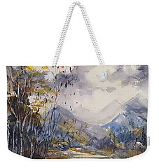 Weekender Tote Bag featuring the painting Fall In The Mountains by Reed Novotny