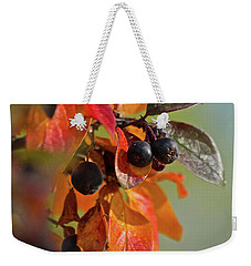 Weekender Tote Bag featuring the photograph Fall Leaves And Berries by Ann E Robson