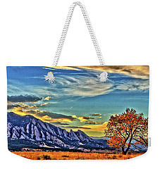 Weekender Tote Bag featuring the photograph Fall Over The Flatirons by Scott Mahon
