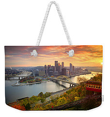 Fall Pittsburgh Skyline  Weekender Tote Bag by Emmanuel Panagiotakis
