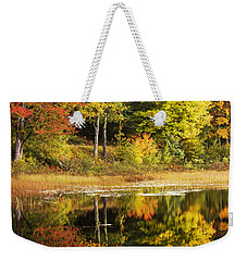 Weekender Tote Bag featuring the photograph Fall Reflection by Chad Dutson