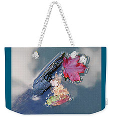 Weekender Tote Bag featuring the photograph Fall Reflections Leaves In The Water by Irina Sztukowski