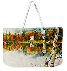 Weekender Tote Bag featuring the painting Fall Splendour by Sher Nasser