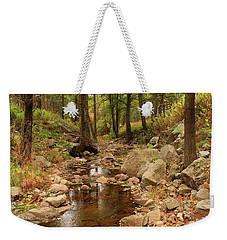 Fall Stream And Rocks Weekender Tote Bag by Roena King