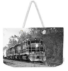 Weekender Tote Bag featuring the photograph Fall Train In Black And White by Rick Morgan