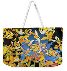 Fallen Autumn Leaves In Garden Pond Weekender Tote Bag