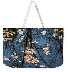 Fallen Leaves In Autumn Lake Weekender Tote Bag