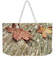 Weekender Tote Bag featuring the photograph Fallen Leaves by Peggy Hughes