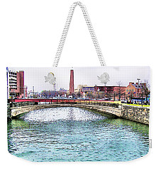 Weekender Tote Bag featuring the photograph Fallswalk And Shot Tower by Brian Wallace