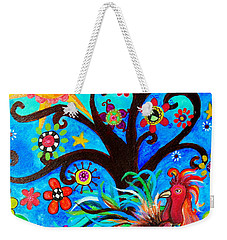 Weekender Tote Bag featuring the painting Family And New Traditions by Pristine Cartera Turkus