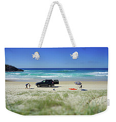 Family Day On Beach With 4wd Car  Weekender Tote Bag