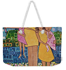 Weekender Tote Bag featuring the painting Family Of 4 by Donna Howard
