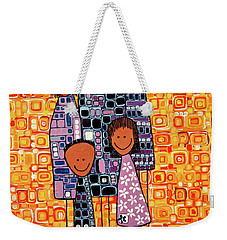 Weekender Tote Bag featuring the painting Family Portrait by Donna Howard