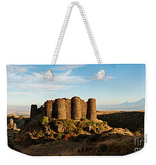 Famous Amberd Fortress With Mount Ararat At Back, Armenia Weekender Tote Bag by Gurgen Bakhshetsyan
