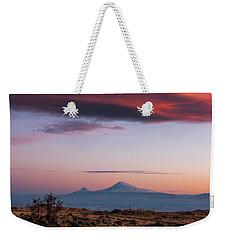 Famous Ararat Mountain During Beautiful Sunset As Seen From Armenia Weekender Tote Bag by Gurgen Bakhshetsyan